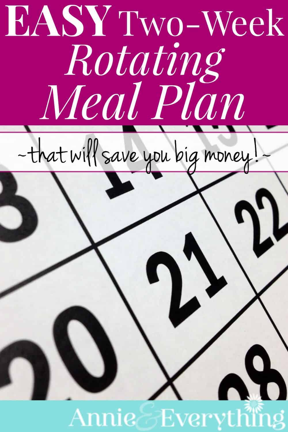 This easy two-week meal plan can be used over and over again! With variety built in! If you hate meal planning, you won't have to do it ever again -- and you'll still save money!