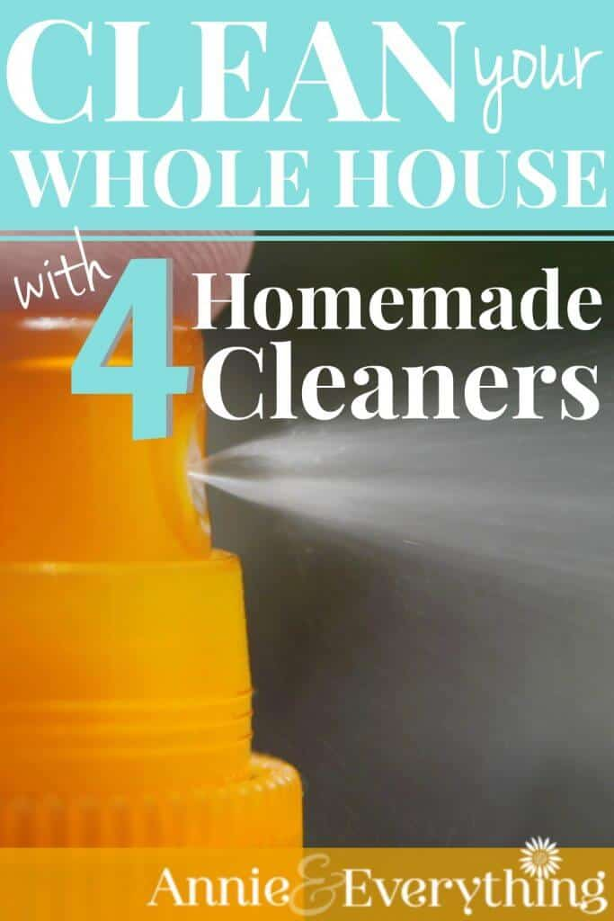 I don't want umpteen homemade cleaners cluttering my cabinet. These four will clean the entire house! And they do not contain expensive essential oils or other hard-to-find ingredients. EASY and CHEAP!