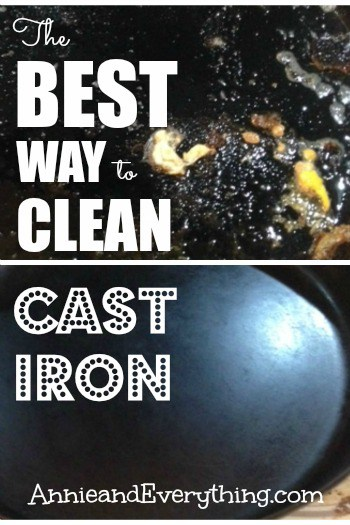 Frustrated with cleaning cast iron after you've cooked with it? This method is the BEST and easiest way to get it clean without damaging the seasoning.