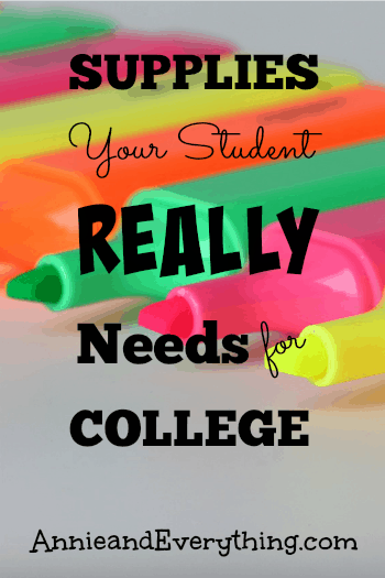 This college supply list recommends only what your student will REALLY need and use, based on experience with four college kids. Save money!