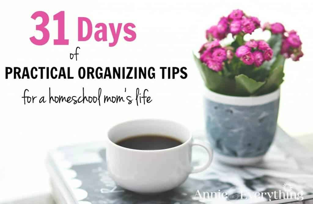 We homeschool moms have unique challenges. Join me for a month of organizing tips and tricks just for us! These powerful ideas are organization strategies you can apply in ALL areas of your life -- at home, for school, in the kitchen or the closet -- or your brain, lol. Sign up today!