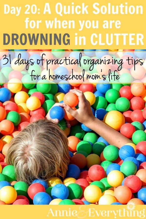 Need clutter solutions? Here's one of the quickest tips to get rid of it. Clearing your home of clutter is one of the first hacks for good organization. Part of a series of organizing tips for homeschool moms -- full of great ideas for how to be clutter free!