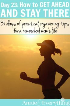 Ever feel like you're always behind? You can get ahead by using this idea when you plan your daily to do list. You'll get more done and have better time management. Part of a series of organization tips for the life of a homeschool mom!