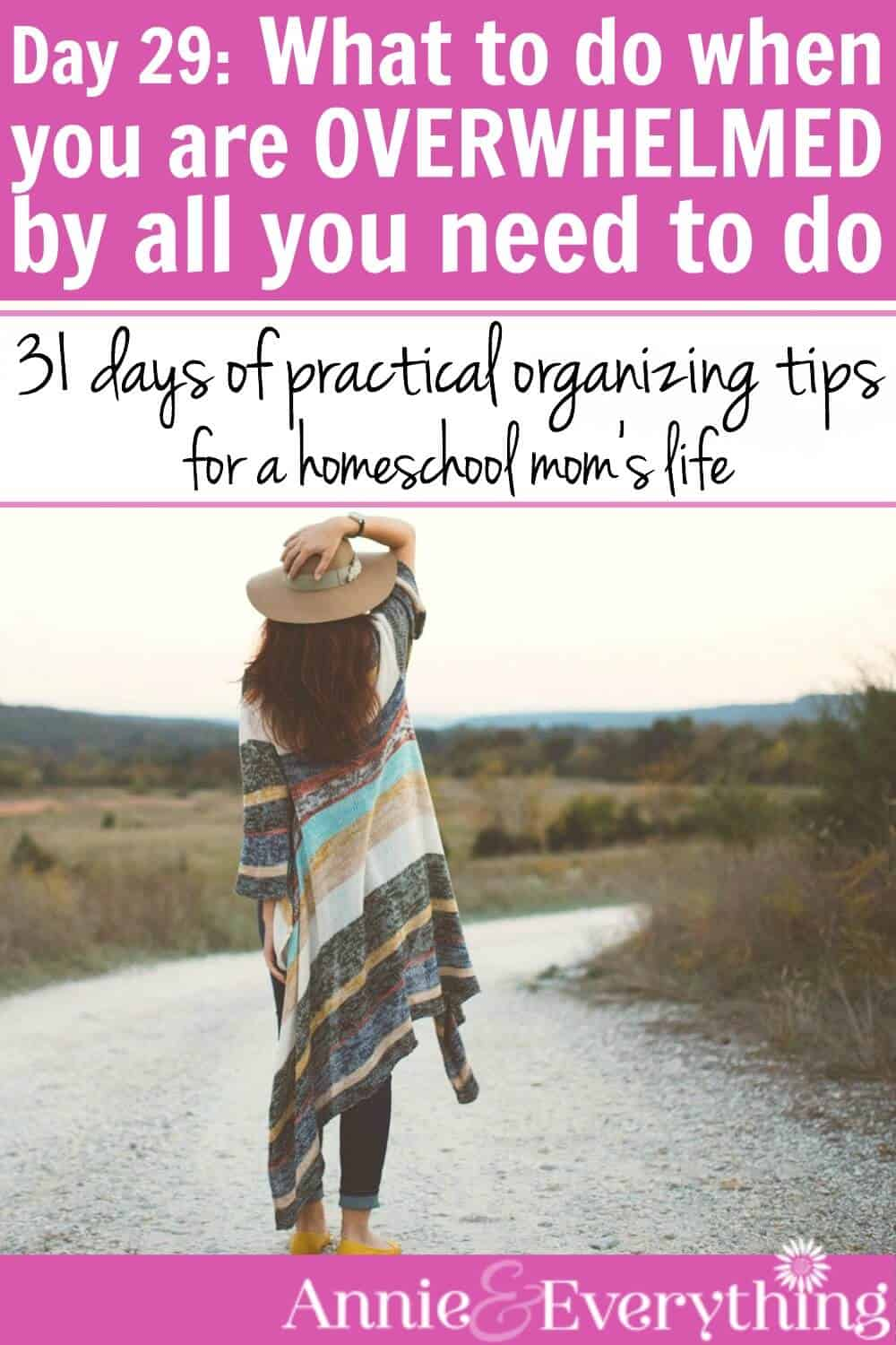 When you are feeling overwhelmed with life, this quick tip gives you a plan for what to do. Decrease your stress and anxiety and be the homeschool mom you want to be!