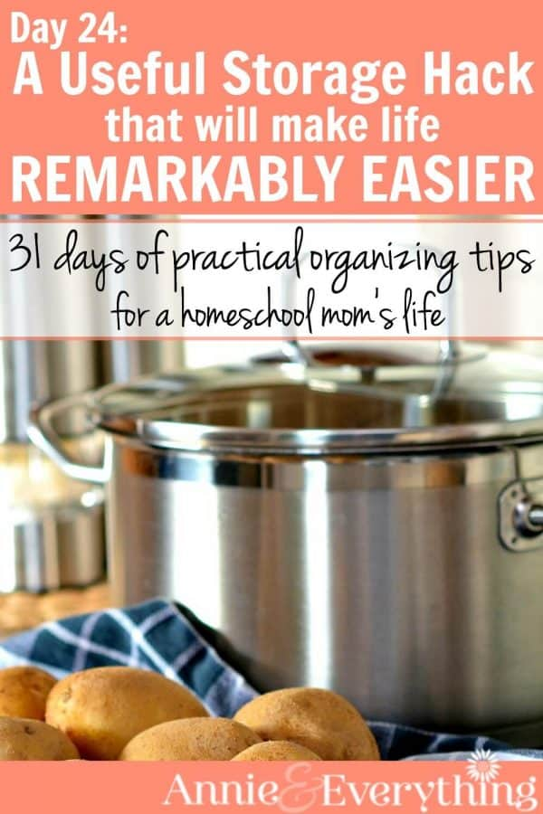 This storage hack is one you may be missing in your home. It's cheap and easy to DIY. Use it in any room of the house, including the kitchen or bedroom. Part of a series of organizing tips for the life of a homeschool mom.