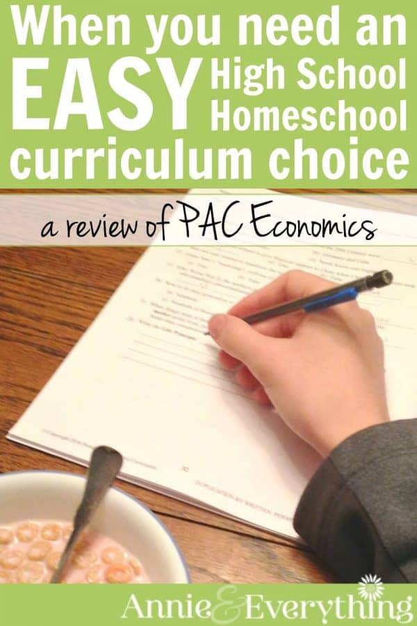 Sometimes you need an EASY homeschool curriculum choice. PAC high school economics is a product to use for 1/2 credit of social studies that also has lessons for learning life skills such as handling family finances or starting a business. This review from a veteran homeschool mom will help you decide if it is right for your kids!