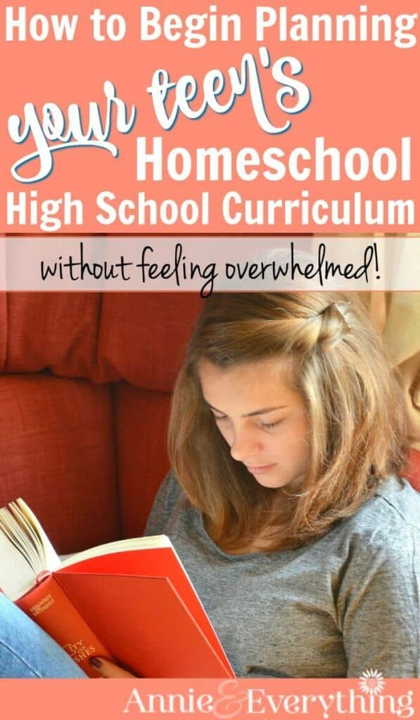 Do you feel overwhelmed about planning a homeschool high school curriculum for your student? This post breaks it down into manageable steps with organization tips and ideas and lotsa reassuring encouragement. From a mom who has graduated FOUR kids! Read this to feel more confident about homeschooling high school NOW!