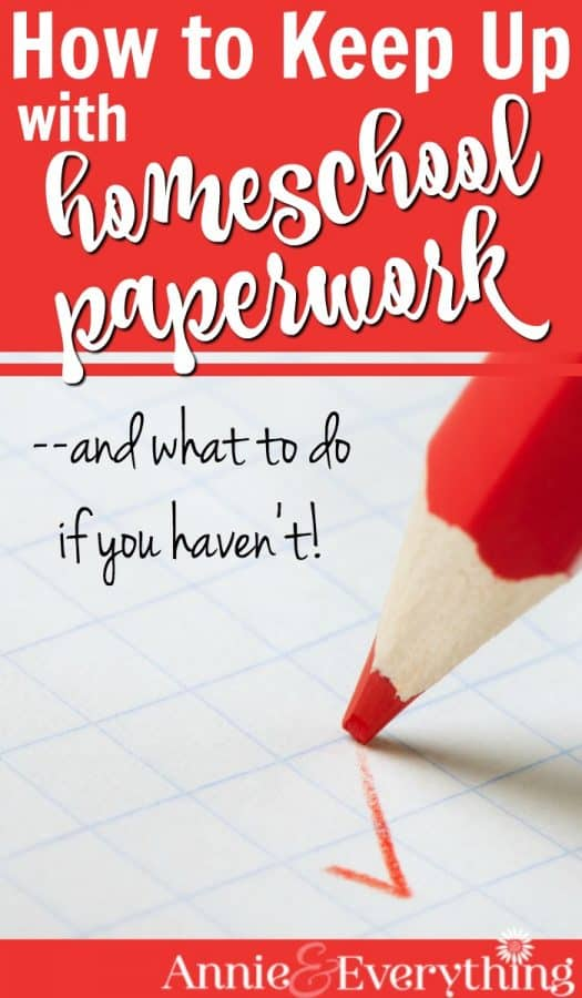 Homeschool paperwork, like grading, can easily become overwhelming. Read tips for keeping it under control and recovering when you're behind. #homeschoolhighschool #homeschoolpaperwork