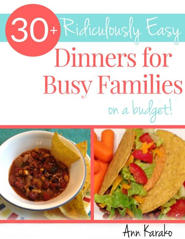 This ebook of easy dinners will help you find something to put on the table TONIGHT with ingredients you probably already have in your pantry!