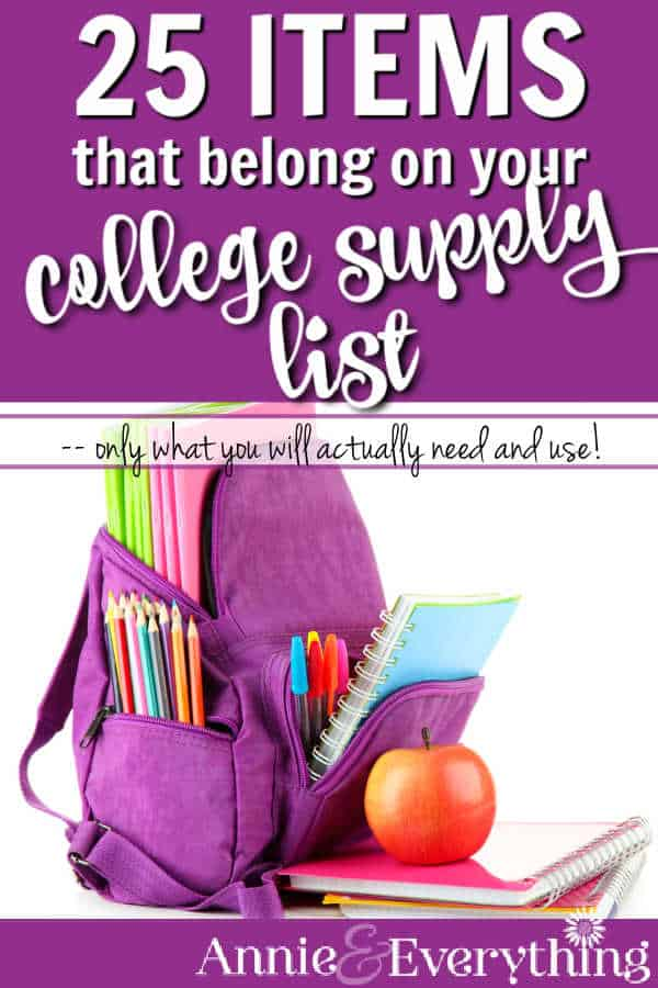 This college supply list recommends only what the student will REALLY need and use, based on experience with four college kids. Save money!